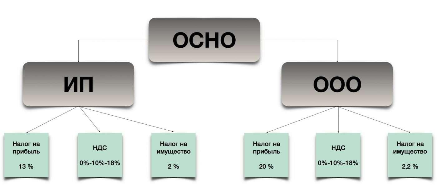 Схема налогов ОСНО для ИП и ООО